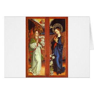 Cartão Arcanjo Gabriel - aviso - Schongauer