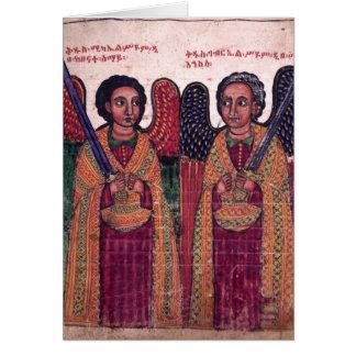 Cartão Arcanjos etíopes Michael e Natal de Gabriel