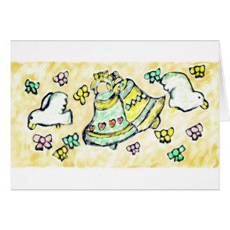 Cartão arco da pomba do sino