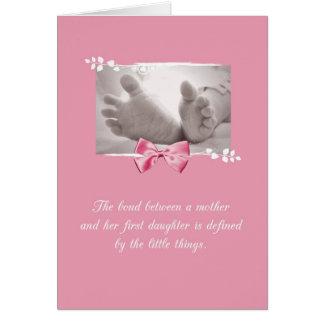 Cartão Arco do rosa dos pés do bebê dos parabéns da