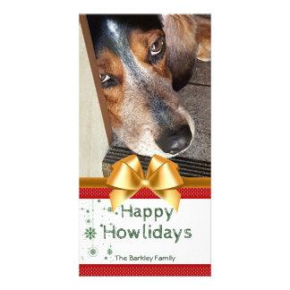 Cartão Arco feliz do ouro de Howlidays da foto do Natal