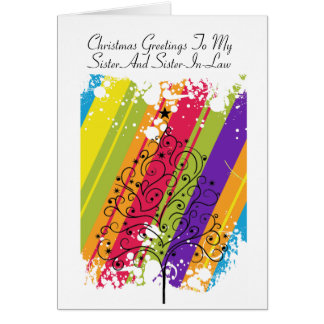 Cartão Arco-íris da árvore de Natal