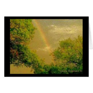 Cartão Arco-íris dourado do céu