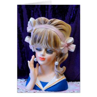 Cartão Arcos bonitos do rosa da boneca do vaso da cabeça
