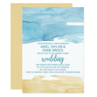 Cartão Areia da aguarela e casamento do mar
