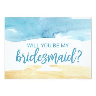 Cartão Areia e mar da aguarela você será minha dama de