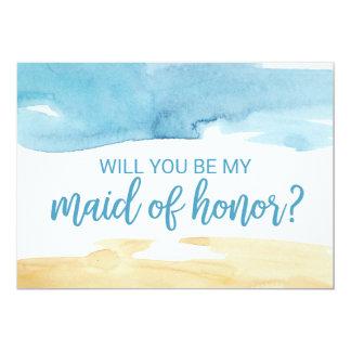 Cartão Areia & mar da aguarela você será minha madrinha