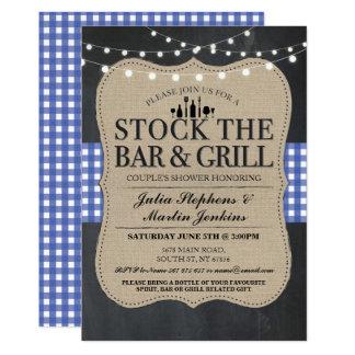 Cartão Armazene a festa de noivado rústica do bar e grill