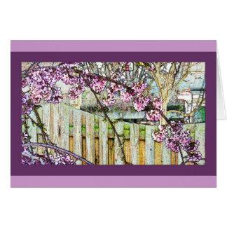 Cartão arqueado do ramo da flor de cerejeira
