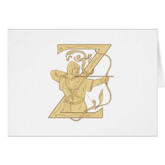 Cartão Arqueiro medieval que aponta o desenhar da letra Z