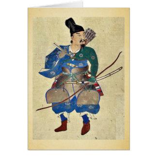 Cartão Arqueiro Ukiyo-e. do guerreiro