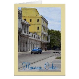 Cartão Arquitetura e carros americanos de Cuba