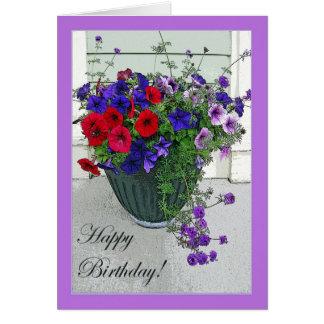 Cartão Arranjo de flor do feliz aniversario,