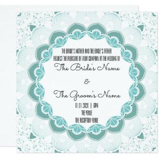 Cartão Art deco Customisable de turquesa que Wedding o