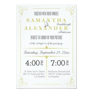 Cartão Art deco fresco da verde azeitona que Wedding o