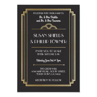 Cartão Art deco que Wedding os anos 20 do preto & do ouro