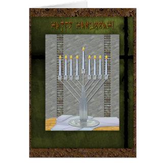 Cartão Art deco rústico MashUp de Hanukkah