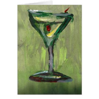 Cartão arte abstrata verde do bar do cocktail da cozinha