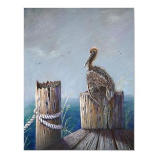 Cartão Arte acrílica do oceano do pelicano de Brown da