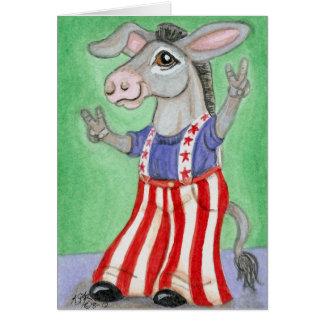Cartão Arte americana branca & azul vermelha do asno