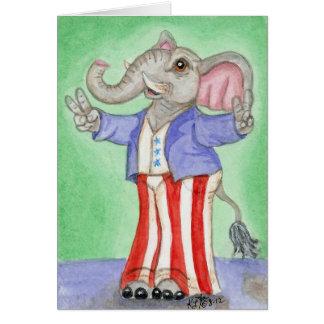 Cartão Arte americana branca & azul vermelha do elefante