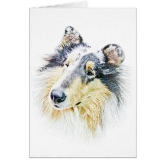 Cartão Arte áspera bonita do cão do Collie