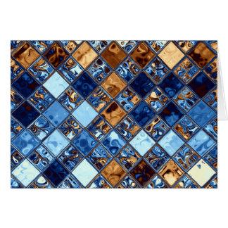 Cartão Arte azul do original do teste padrão de mosaico