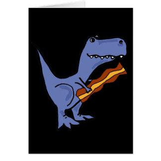 Cartão Arte azul engraçada do bacon comer do dinossauro