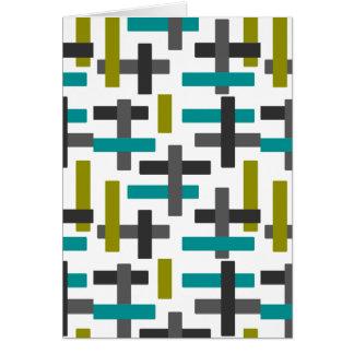 Cartão Arte azul, verde, cinzenta retro
