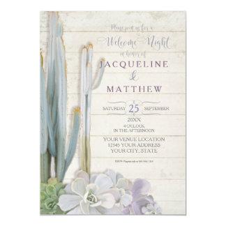 Cartão Arte bem-vinda da madeira do Succulent do cacto do