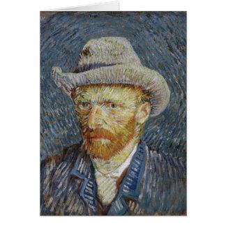 Cartão Arte cinzenta da pintura do chapéu de feltro do