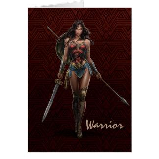 Cartão Arte cómica Batalha-Pronta da mulher maravilha