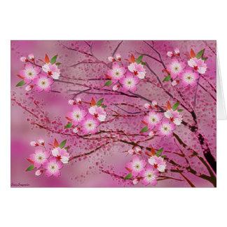 Cartão Arte cor-de-rosa de Origami da flor de cerejeira