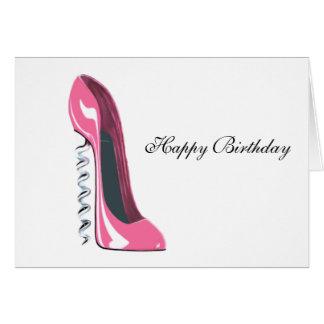 Cartão Arte cor-de-rosa dos calçados do estilete do