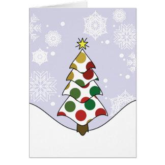 Cartão Arte da árvore de Natal de Polkadot