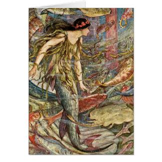 Cartão Arte da sereia do Victorian por H J Ford