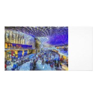 Cartão Arte de Londres da estação dos reis trilho
