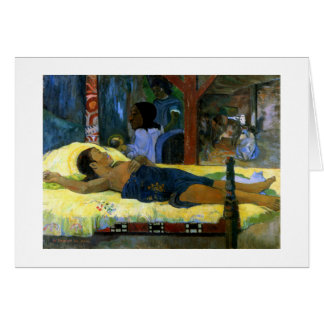 Cartão Arte de Paul Gauguin que pinta a natividade preta