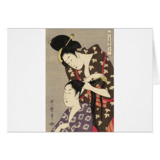 Cartão Arte de Utamaro Yuyudo Ukiyo-e do cabeleireiro das