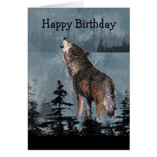 Cartão Arte do animal do lobo do urro do feliz