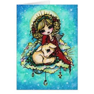 Cartão Arte do anjo do milagre do Natal por Hannah Lynn