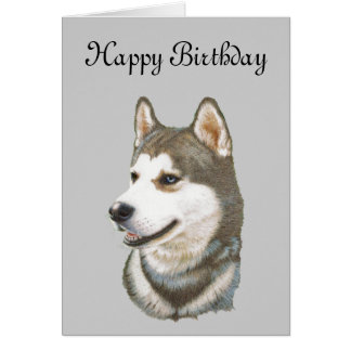 Cartão Arte do cão do rouco Siberian