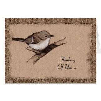 Cartão Arte do carvão vegetal: Pássaro pequeno: Latido: