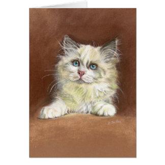 Cartão Arte do gatinho da boneca de pano