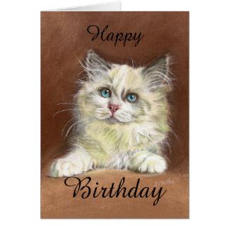 Cartão Arte do gatinho de Ragdoll do feliz aniversario