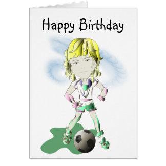 Cartão Arte do jogador de futebol da menina