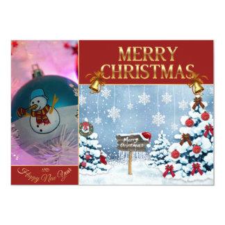Cartão Arte do Natal - boneco de neve - bolas do Natal