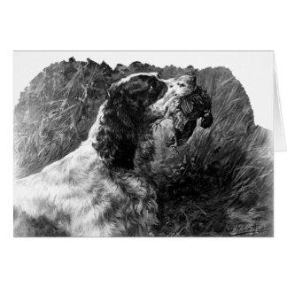 Cartão Arte do Spaniel de Springer do vintage