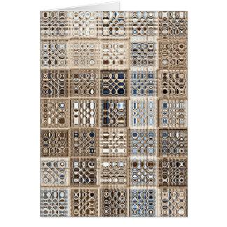 Cartão Arte do teste padrão de mosaico do sari de Brown