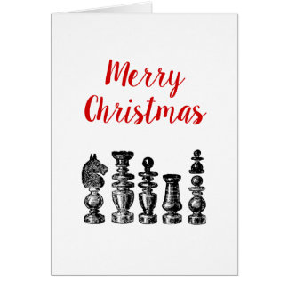 Cartão Arte do vintage das partes de xadrez